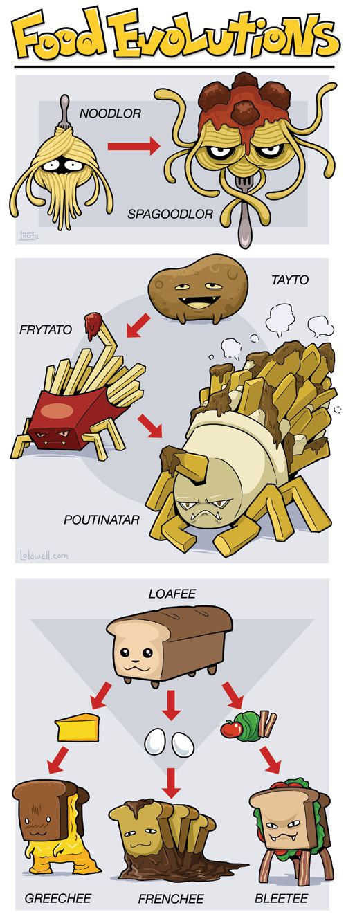 "Food Evolutions. ""Gotta Eat 'Em All"" by Caldy"