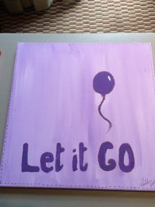Let it go // Canvas Painting idea for Responding to Love Women's Retreat with #CheriStrange, #SheYearns #WomensMinistry #Painting #RespondingtoLove