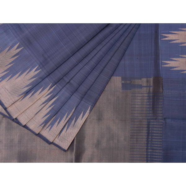 Teal Kanchipuram Silk Handloom Saree with Temple Border Design k0195