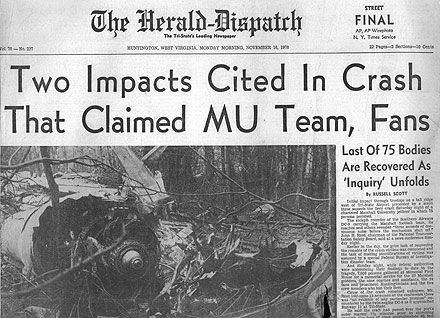 This Day in History: Nov 14, 1970: Plane crash devastates Marshall University http://dingeengoete.blogspot.com/ http://images5.fanpop.com/image/photos/31700000/41-members-of-Marshall-University-football-team-died-in-plane-crash-1970-celebrities-who-died-young-31719322-440-318.jpg