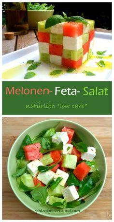 Melonen-Feta-Salat low carb Zutaten für 2 Personen: 250 g Feta 1/4 Wassermelone 1/2 Salatgurke 2 gute Handvoll Feldsalat ein paar Blätter frischen Basilikum 4 EL gutes Olivenöl Saft 1/2 Limette Salz, frisch gemahlener Pfeffer und Kräuter #abnehmen #lowcarb #LCHF #Food #Healthyfood #Fitnessfood