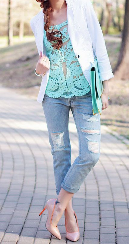 A pastel lace shirt with a crisp white blazer dressed down with boyfriend jeans. So casual yet completely stylish.