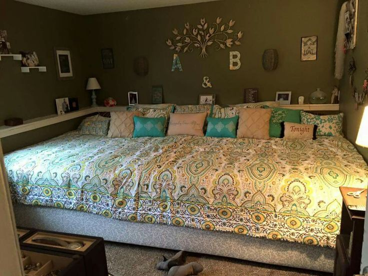 My husband is amazing. I suggest a crazy idea...that he is completely against....until he isn't. Lol. This is my 11' X 7' bed that he built me! I saw it on Pinterest (like most of my crazy ideas) and thought it would be perfect for us! 5 kids, 2 dogs and a cat...and US. Yes more often than not everyone climbs on our bed to hang out. Now it's big enough for that!!!!! Love him! Love my bed!!!! Love love love!!!!!