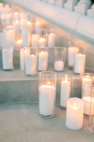 Hurricane candles: http://www.stylemepretty.com/2016/10/26/inexpensive-wedding-details/ Photography: Love and Light - http://loveandlightphotographs.com/