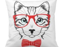 Kissenhülle hipster Katze elegant Brille #ArtMini