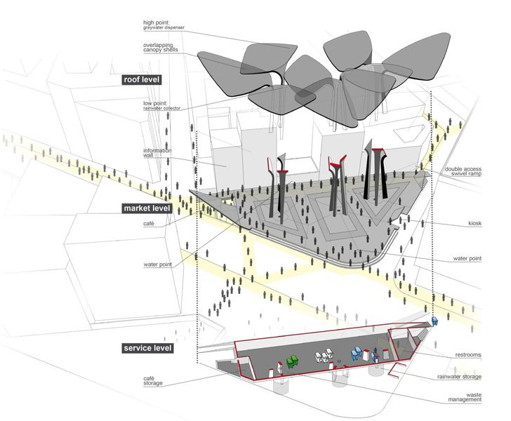 TomDavid Architecten Unveils Rainwater Harvesting Leaf Pavilion for Casablanca, Morocco