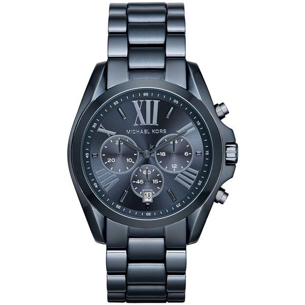 Michael Kors Bradshaw Chronograph Blue IP Stainless Steel Bracelet... (5 400 UAH) ? liked on Polyvore featuring jewelry, watches, apparel & accessories, navy, blue bracelet, navy watches, michael kors