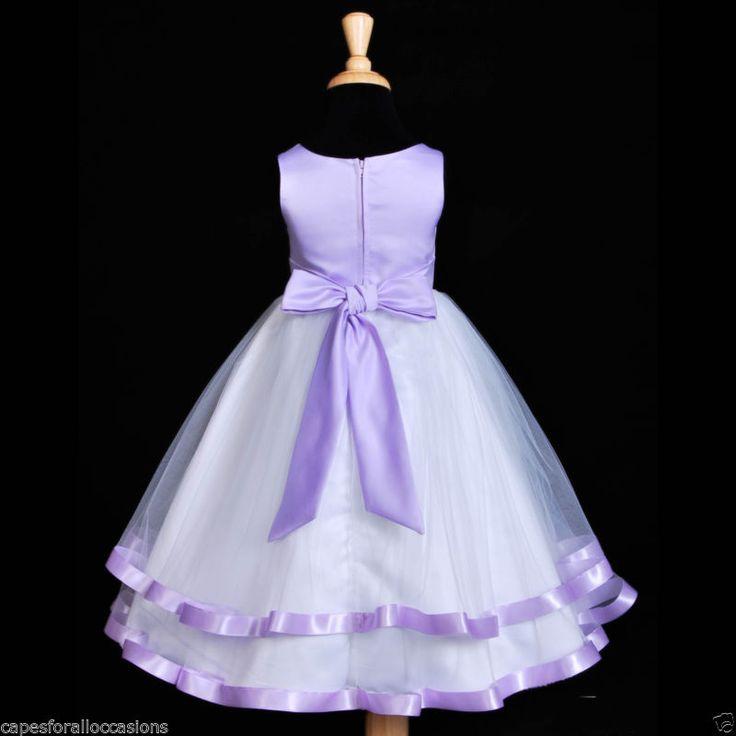 Novo Branco Lilás Roxo Cetim Faixa De Tule Vestido De Casamento Flower Girl 12-18M 2 4 6 8