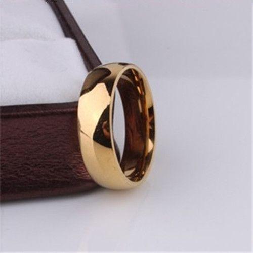 Promotie geel vergulde ring 6mm trouwringen voor mannen vrouwen rvs paar sieraden groothandel