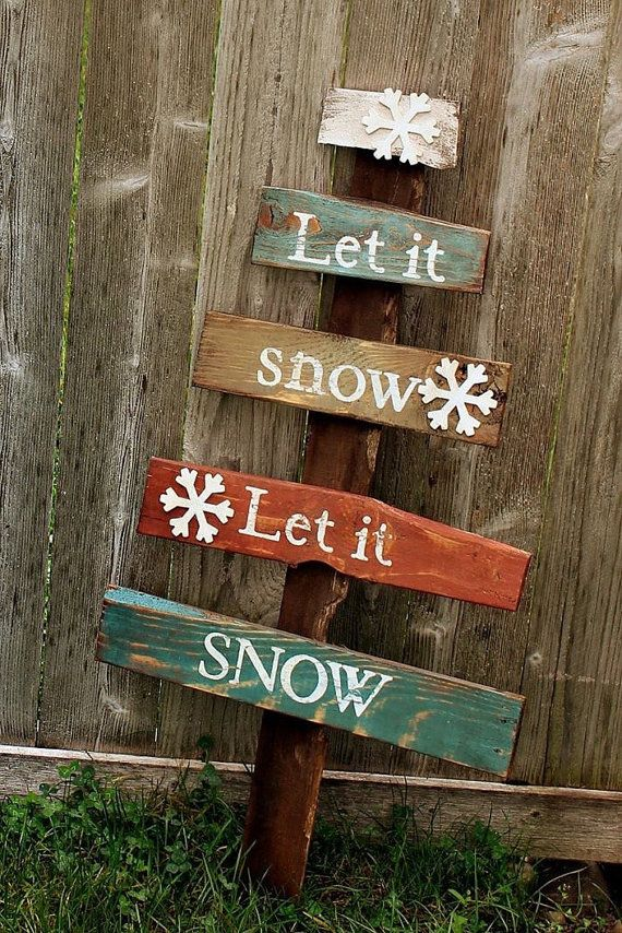 """Rustic large pallet Christmas tree """"Let it Snow"""" sign reclaimed pallet wood sign…"""