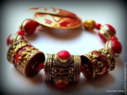 """браслет """"Страсть падишаха"""" - ярко-красный,браслет,непал,тибет,этника,коралловый цвет"""