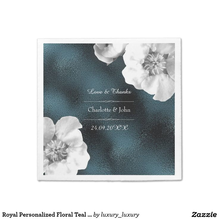Royal Personalized Floral Teal Gray Glass Wedding Disposable Serviettes