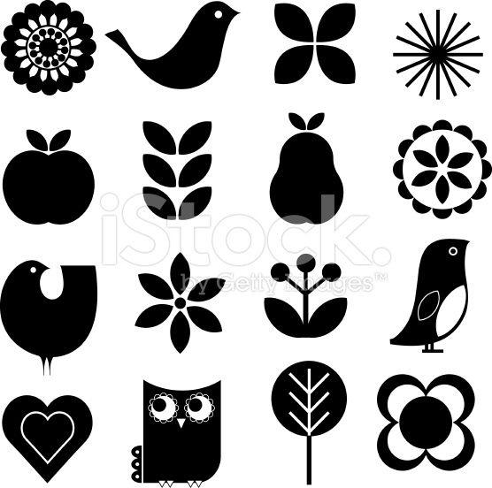 Retro-modern stylish Scandinavian-style vector nature design elements…