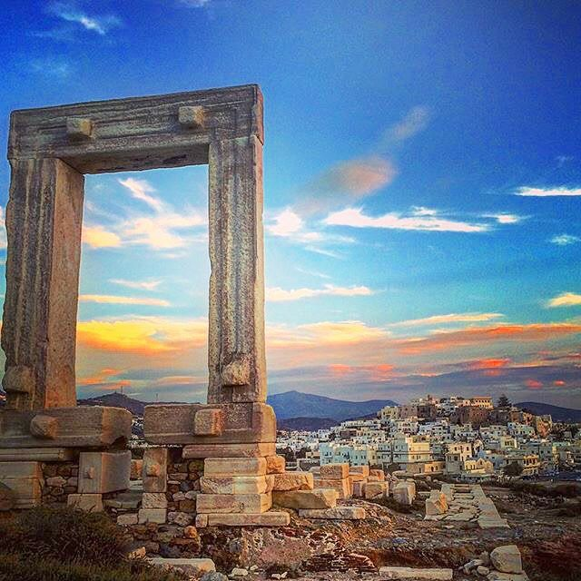 The impressive Portara , marble gate of a 6th century BC temple of Apollo at Naxos island (Νάξος) . Is the biggest island of the Cyclades with beautiful beaches and traditional villages to explore