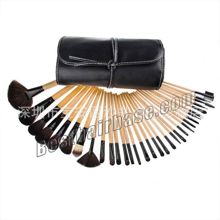 32 Pcs Brown Makeup Brush Set with a Black Bandage Bag