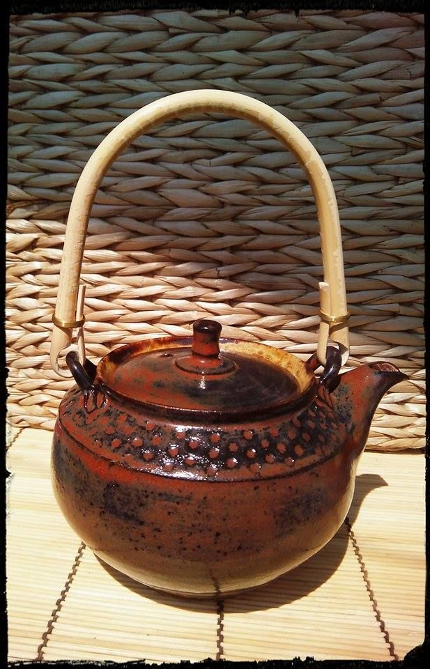 handmade with handle, stoneware teapot, made by Stepanka Kucerova 1250 st.Cels, clay FR Pavek, USA Amaco Potters Choice glazes ... 7 dcl