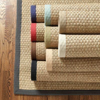 $180 Blue Border Rug via Ballard Designs  Source: http://www.ballarddesigns.com/seagrass-rug/rugs-windows/category/rugs/all/10081
