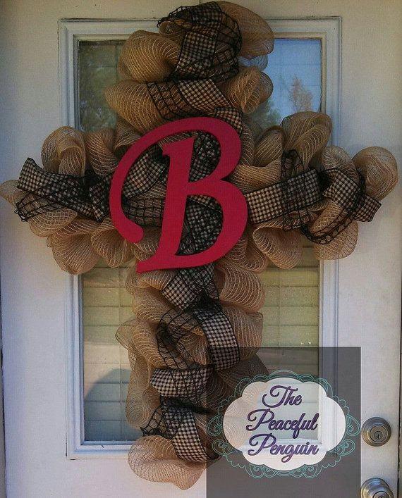 Custom Burlap Mesh Cross Wreath with 12 by ThePeacefulPenguin