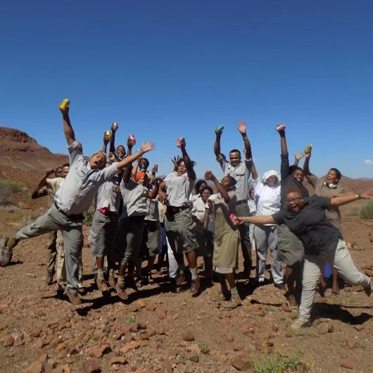 This is how happy Damaraland Camp staff are at being awarded Silver in the African Responsible Tourism Awards last week. Congratulations team!