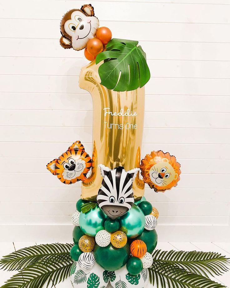 "B A L L O O N H I V E on Instagram: ""Wild One 🦁🐵 Freddie Turns 1 . . #bespokeballoons #balloongarland #luxuryballoons #balloonideas #balloonartist #balloonhoop #balloontree…"""