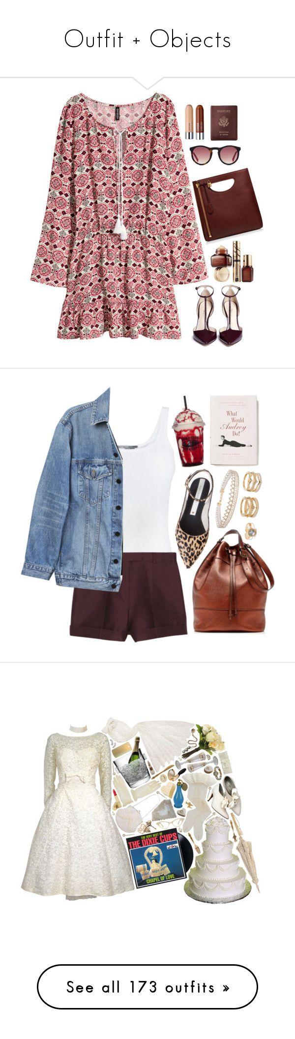 """""""Outfit + Objects"""" by jzanzig on Polyvore featuring H&M, 3.1 Phillip Lim, HOOK LDN, Estée Lauder, Royce Leather, Alix, red, dress, shoes and dresses"""