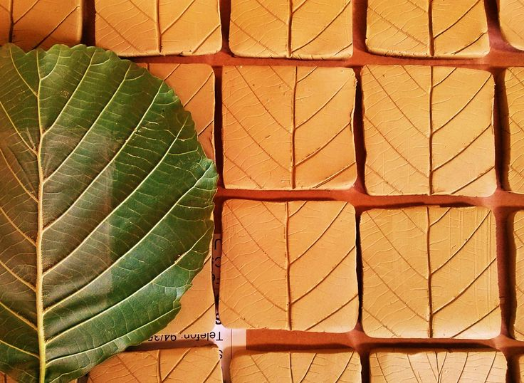 Alder leaf printed tiles. Made by Zoltan Feher.