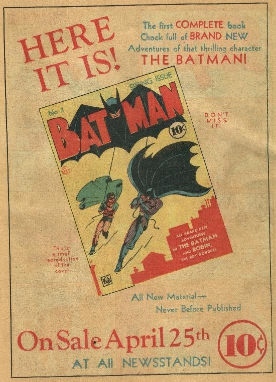 The First Batman Comic EVER, click on it to see how much it just went for at the auction.