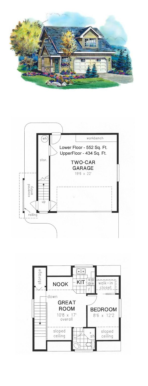 Garage Apartment Plan 58567 | Total Living Area: 434 sq. ft., 1 bedroom and 1 bathroom.