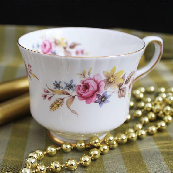 Royal Stafford bone china cup Patricia design pink floral