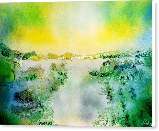 Lake Of Transparency Canvas Print featuring the painting Lake Of Transparency by Nandor Molnar (When you visit the Shop, change the size, frame, canvas and wrap as you wish)