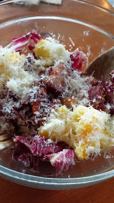 Tasty and Alder famous salad, the Radicchio salad with bacon lardons. manchego. six minute eggs