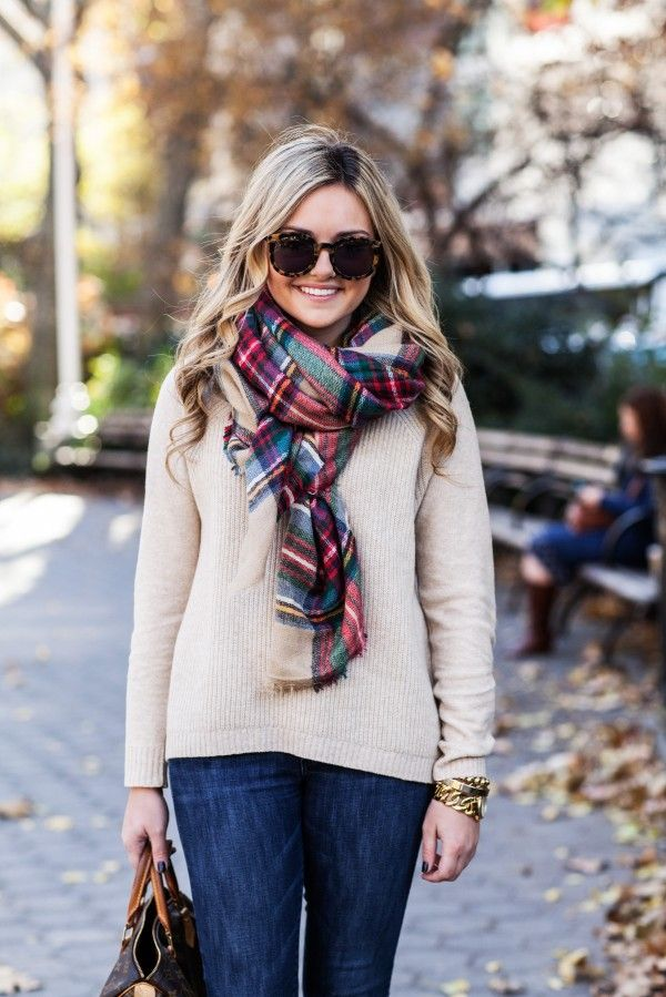 Cream Sweater + Plaid Scarf