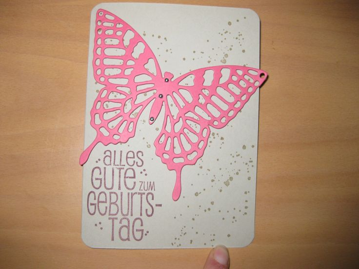 Geburtstagskarte, Stampin up, Big Shot, Schmetterling, Butterflies Thinlits, Gorgeous Grunge