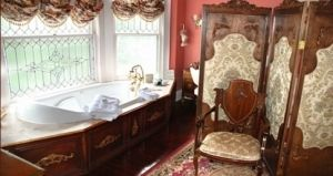 A luxurious place to soak and take in the Victorian atmosphere at the Hayes House Bed and Breakfast in Muskogee, OK.