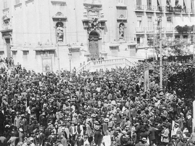 Largo de Camões, manifestação - 1909