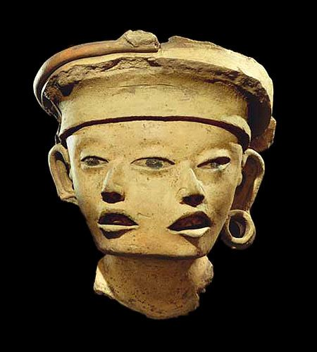 Ancient Precolumbian double-headed sculpture, found in the area surrounding the Gulf Coast of Mexico