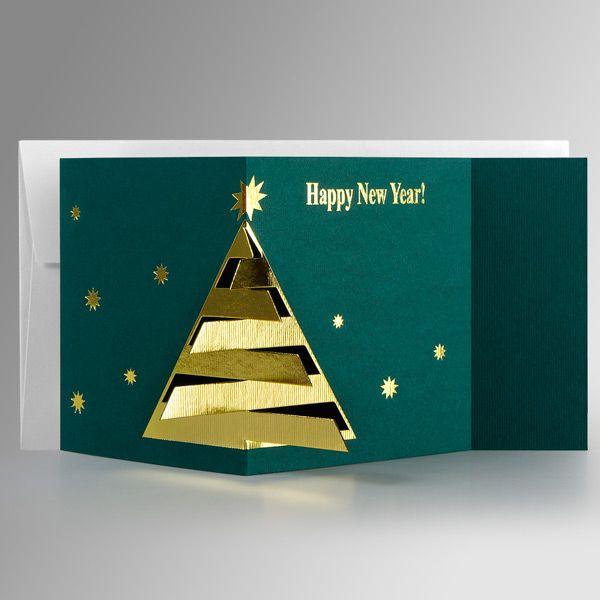 Corporate Xmas Cards UK Print - Original Fur-Tree on Green - Polina Perri