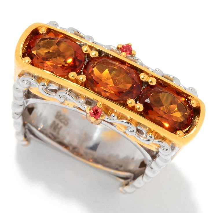 157-616 - Gems en Vogue 1.84ctw Madeira Citrine & Orange Sapphire Square Shank Ring
