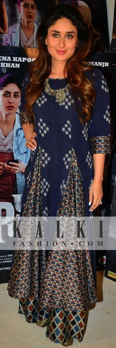 Kareena Kapoor dressed in a royal blue palazzo set, she was seeing mesmerizing everyone with her oppulent dress sense. Shop Indian Couture at www.kalkifashion.com