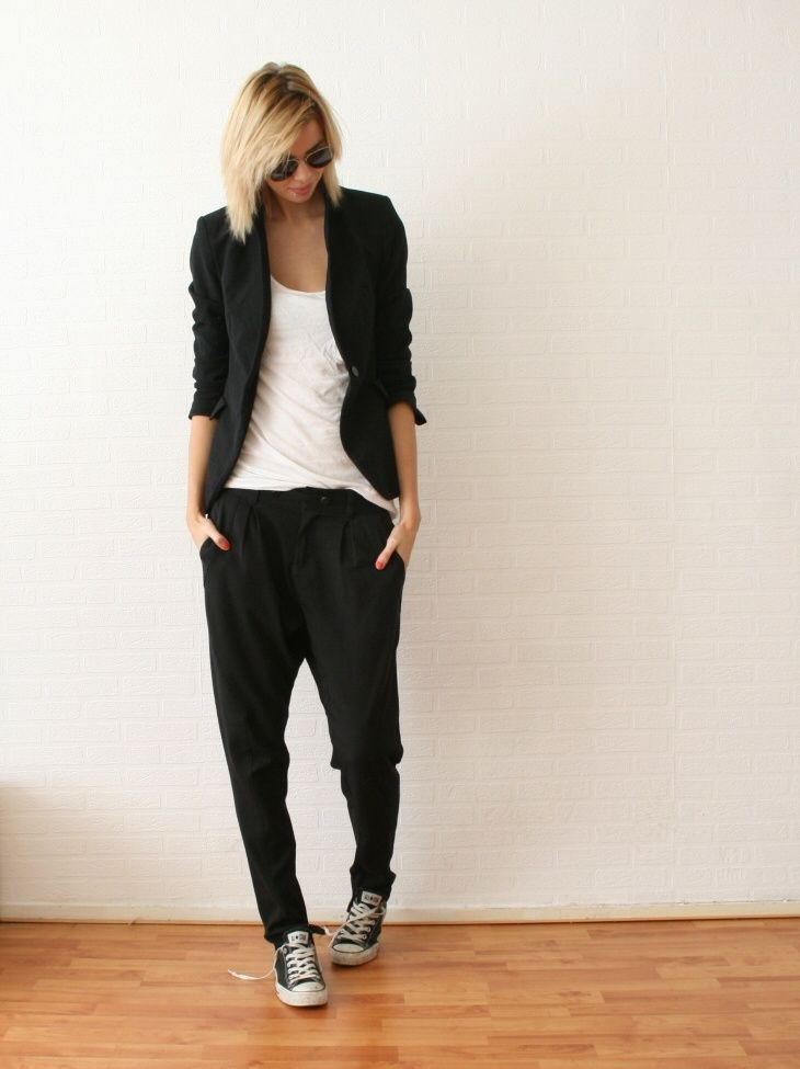 ck loose pants + black Converses + white tee + black cover-up/blazer