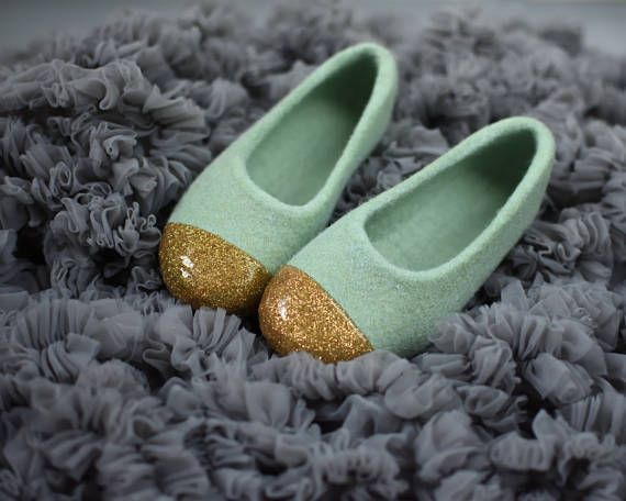 Felted slippers in sage green and gold  Dusty green slippers