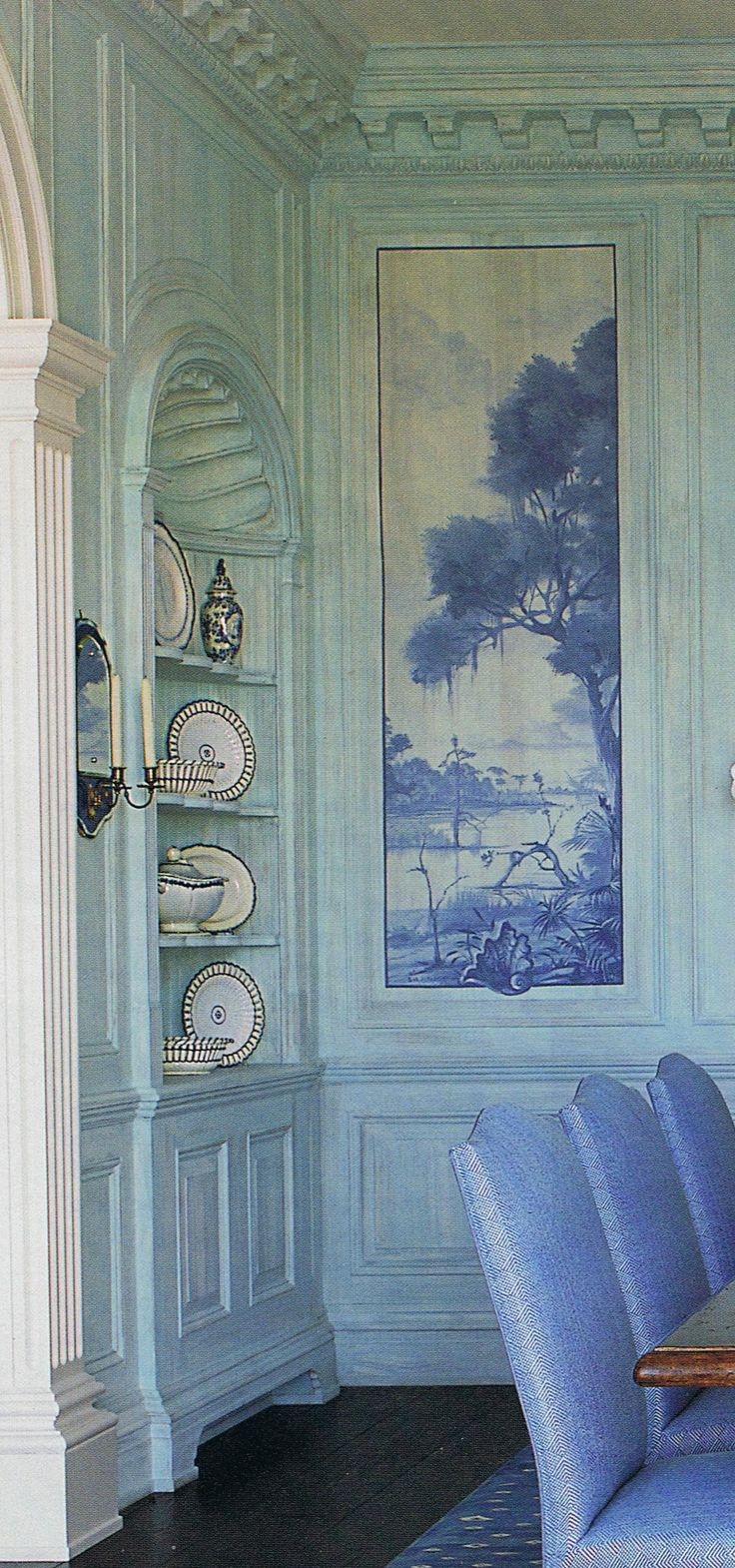 Home decorators collection revisited southern hospitality - Robin S Egg Blue Walls And Darker Blue Murals Love How The Upholstered Chairs Repeat The