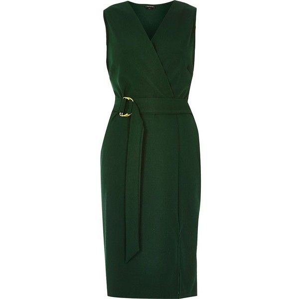 River Island Dark green D-ring belted wrap dress ($80) ❤ liked on Polyvore featuring dresses, bodycon dresses, green, women, bodycon dress, tall dresses, wrap front dress, green bodycon dress and body con dress