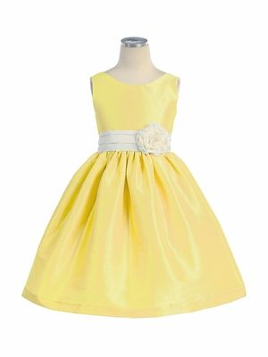 Girls' flower girl dresses  Yellow Poly Silk V-Back Dress