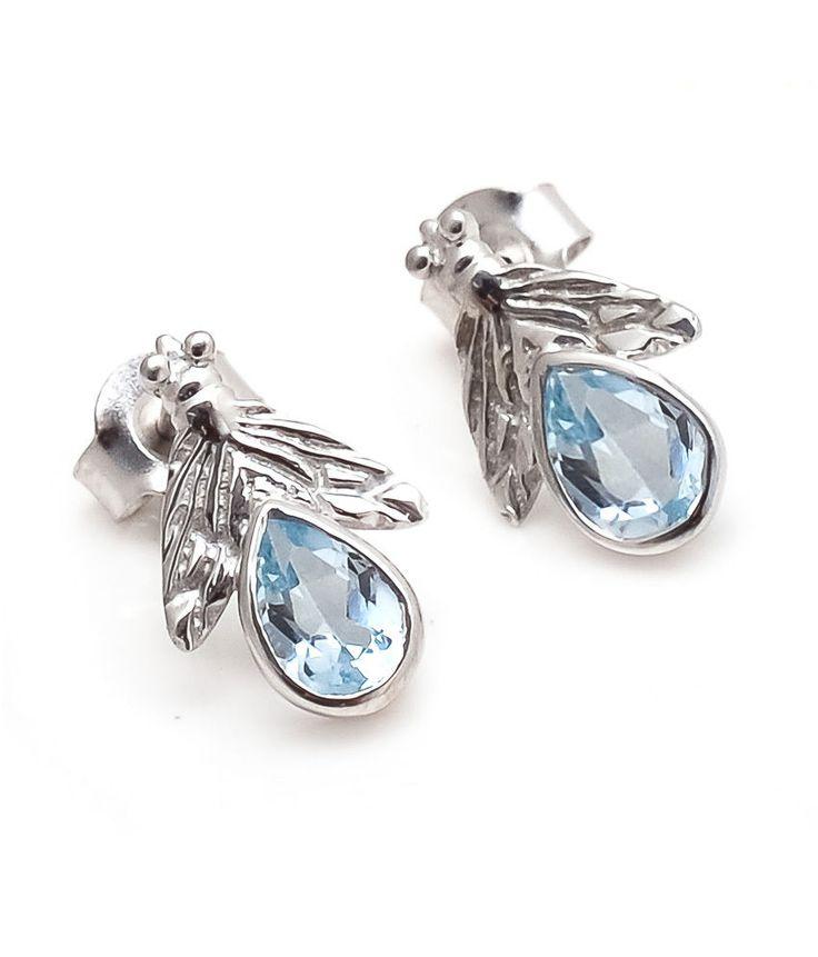 Blue Topaz Earring Natural Gemstone Bezel Set in Solid 925 Sterling Silver SDE33 #Rananjay #StudEarrings