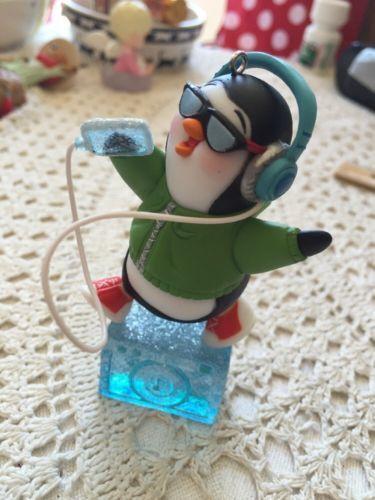 Penguin On Ice Block With Radio Headset Christmas Ornament