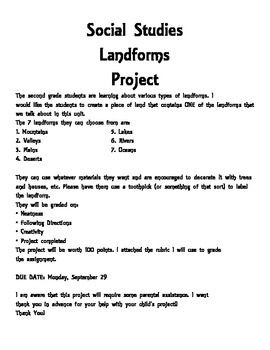This is a project letter for parents on landforms. It has