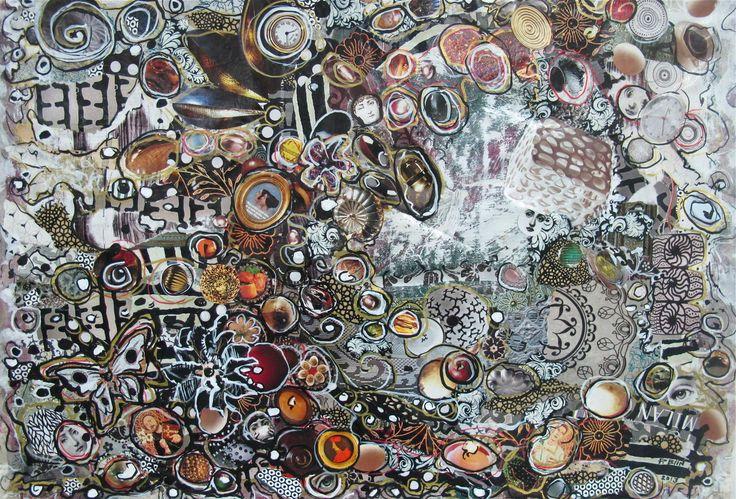 """Patricia Blin """"Vague de fond""""- """"Groundswell""""- 78 X 58 cm  Technique mixte/mixed - Acrylique collage sur toile/Acrylic collage on canvas - 2013 Paris  Collection particulière   http://www.tumblr.com/blog/patriciablin"""