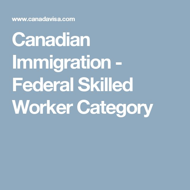 Canadian Immigration - Federal Skilled Worker Category