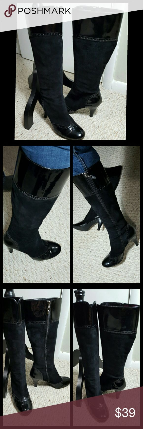"""TAHARI TALL BOOTS Maxie Leather upper  Balance Man Made Materials  8M Few scraps n wear on paitent, but nothing substantial. Price reflects this  Other than that, boots are in great condition/ Clean  3.5"""" heels  17 3/4"""" Shaft  15 1/4"""" calf circumference  True to size  No trades Please Tahari Shoes Heeled Boots"""